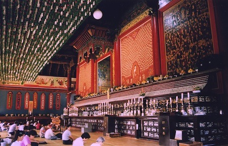 A Buddhist temple in Seoul, however the majority of worshipers in the city are Christians