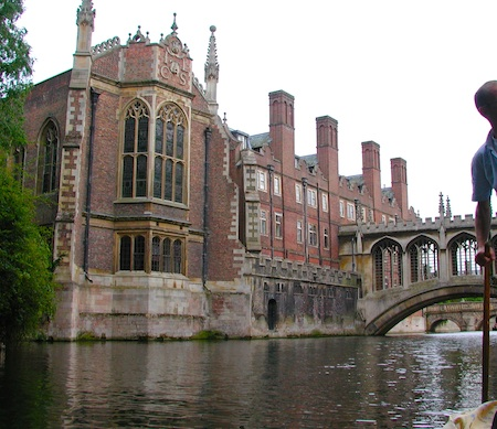 Punting along the River Cam provides views of St. John's College and the Bridge of Sighs