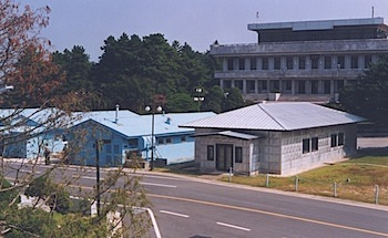 The DMZ runs through the center of these conference buildings