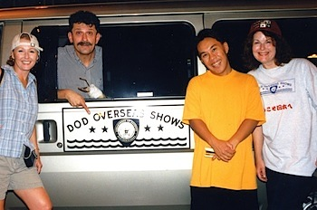 Charlie Fontana (center) was the DOD Overseas Shows guru who glided our show through Japan