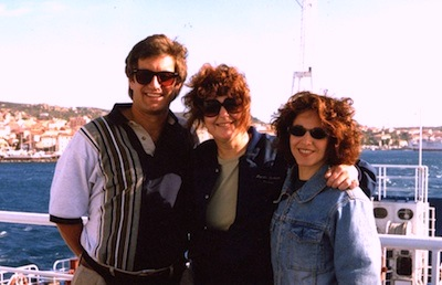 Producer Marsha Roberts (center) with actors Neal Matthews and Michelle Rosen aboard the ferry to LaMaddalena