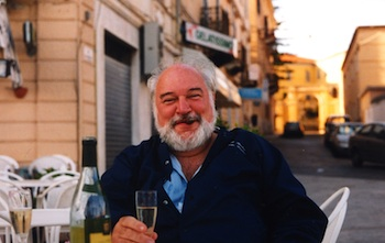 Playwright/Director Robert Rector enjoys a day off at LaMaddalena's Piazza Umberto
